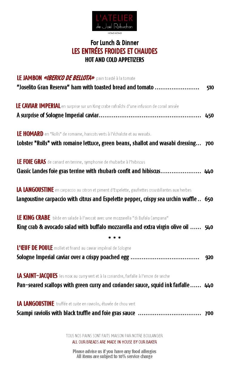 L\'ATELIER menu – L\'Atelier HK